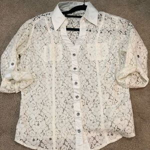 While lace button up shirt